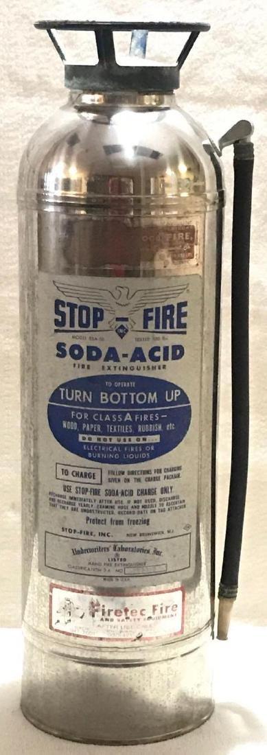 Vintage Chrome Stop Fire Extinguisher - 2