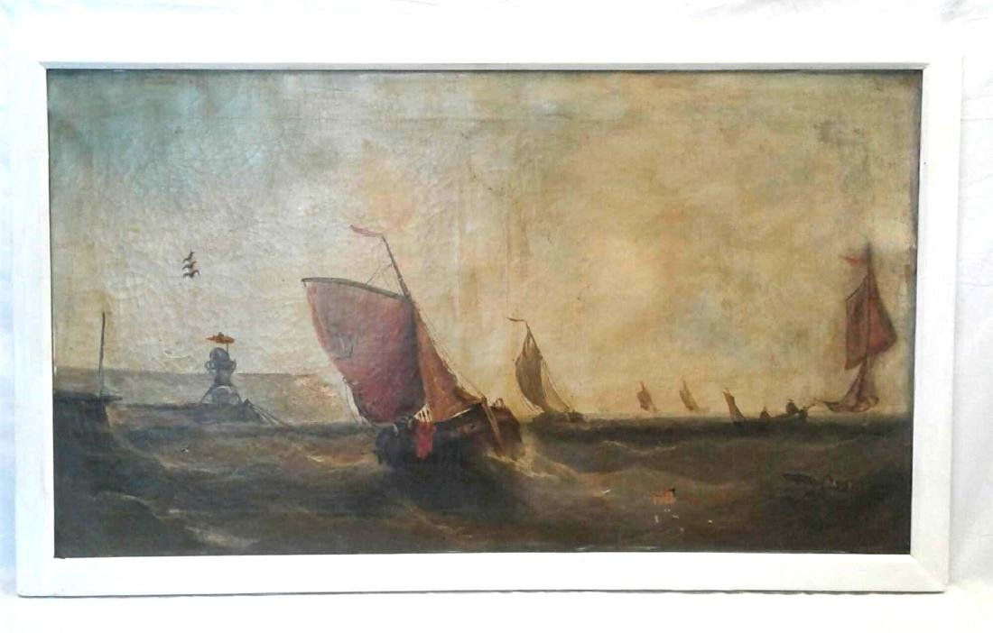 19th Century Oil on Canvas, Fishing Scene
