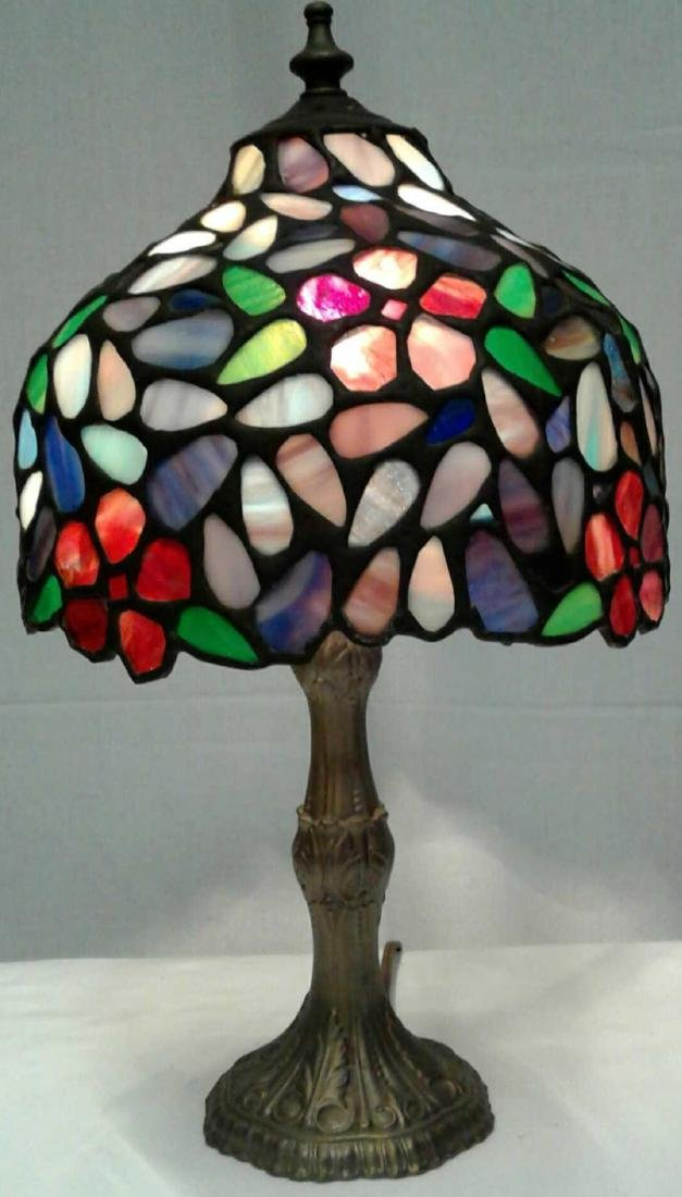 Brass Stained Glass Lamp 15""