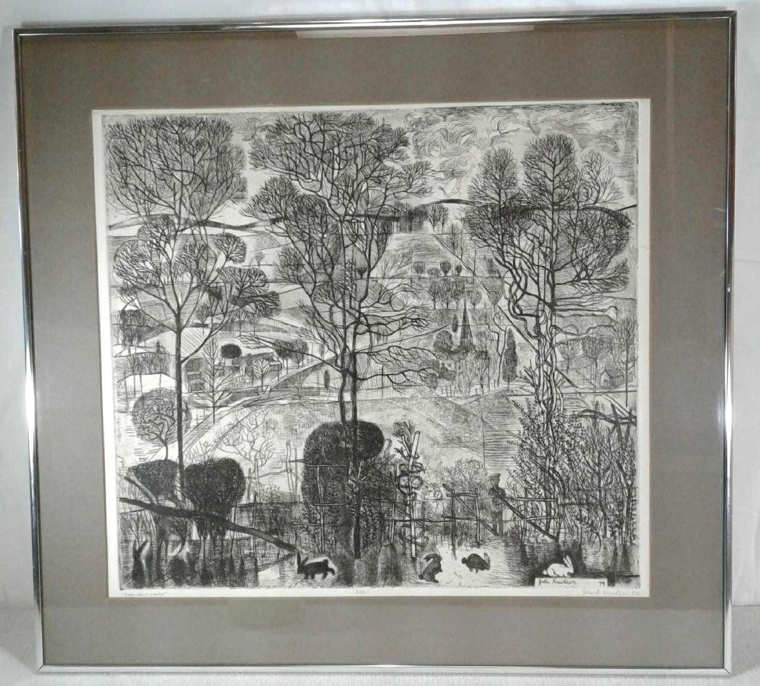 "A Signed John Knudson Etching ""Near Crosscombe"""