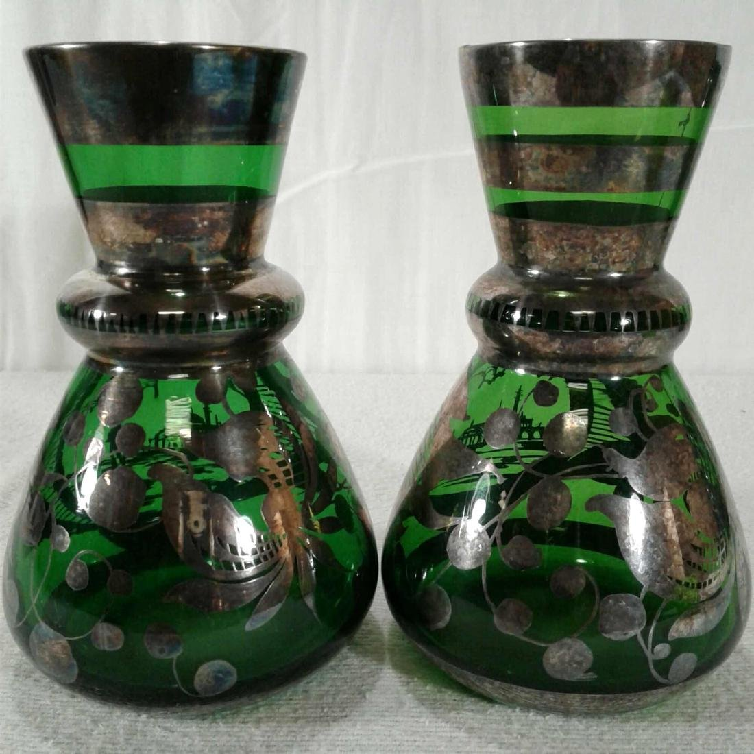 Vintage Green Vases with Overlay Flower Designs