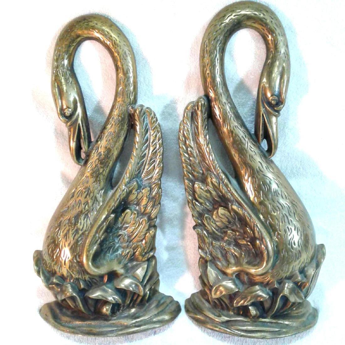 2 Brass Decorative Swans