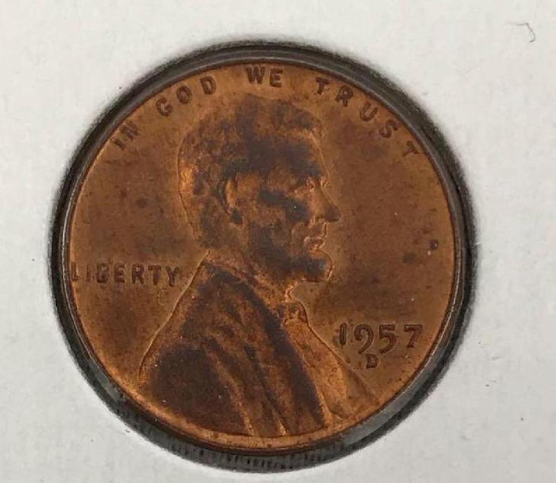 1957 D Denver Brilliant Uncirculated Wheat Penny, Coin