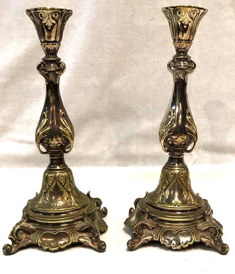 Victorian Fraget Silver and Brass Candlesticks