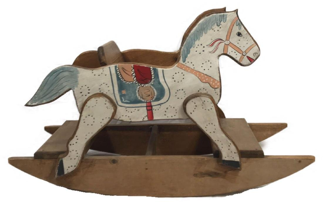 Vintage Hand Painted Wooden Rocking Horse