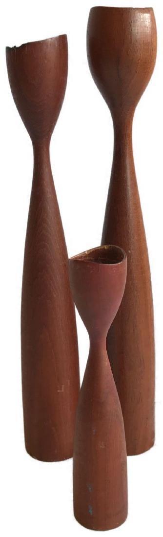 Denmark Mid-Century Modern Teak Candle Sticks