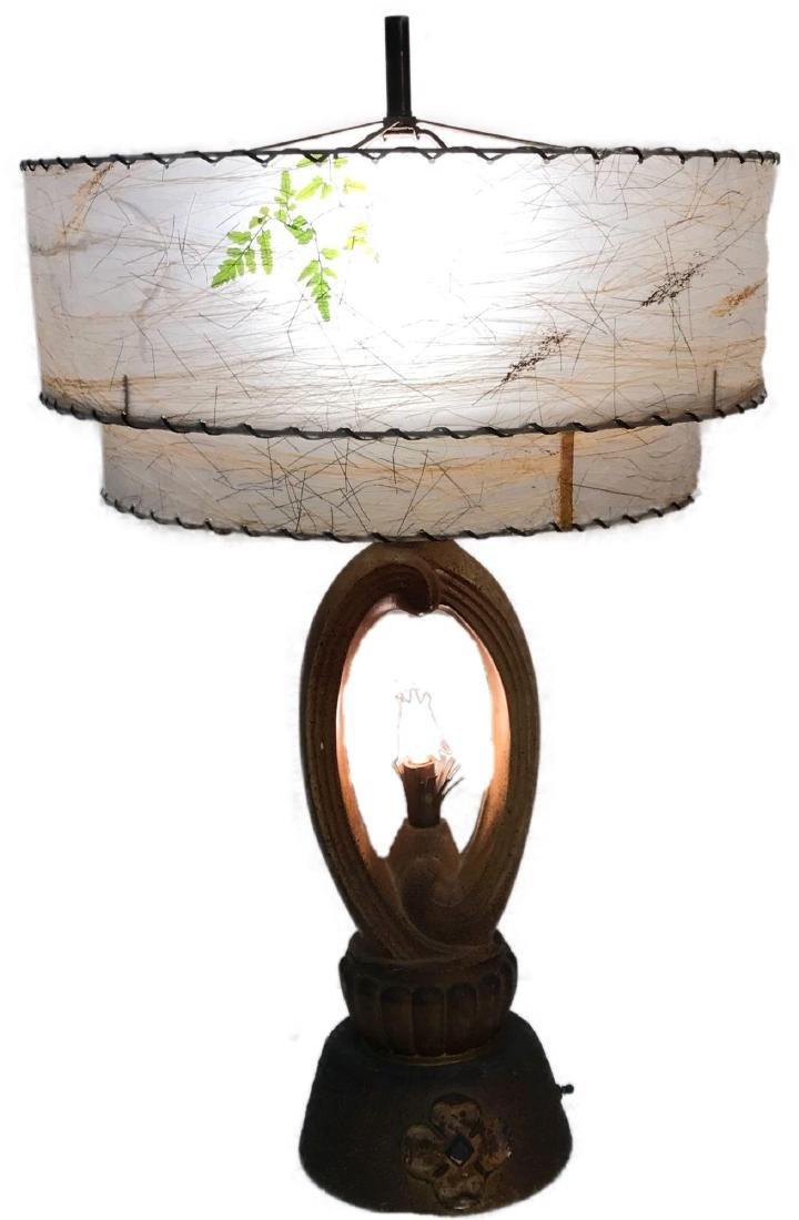 Mid Century Chalkware Lamp with Resin Shade