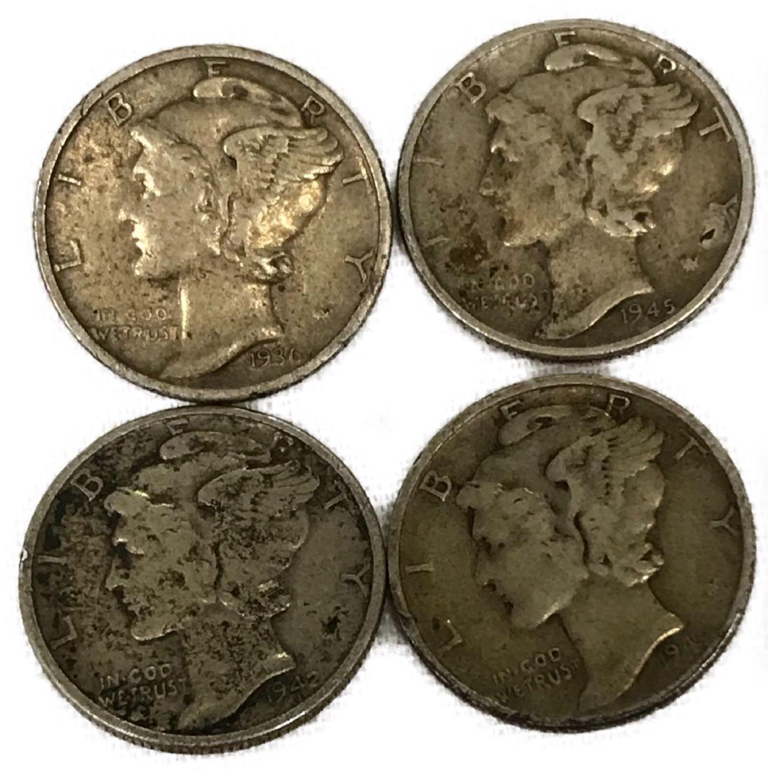 4 Mercury Dimes 1936, 1941, 1942, 1945
