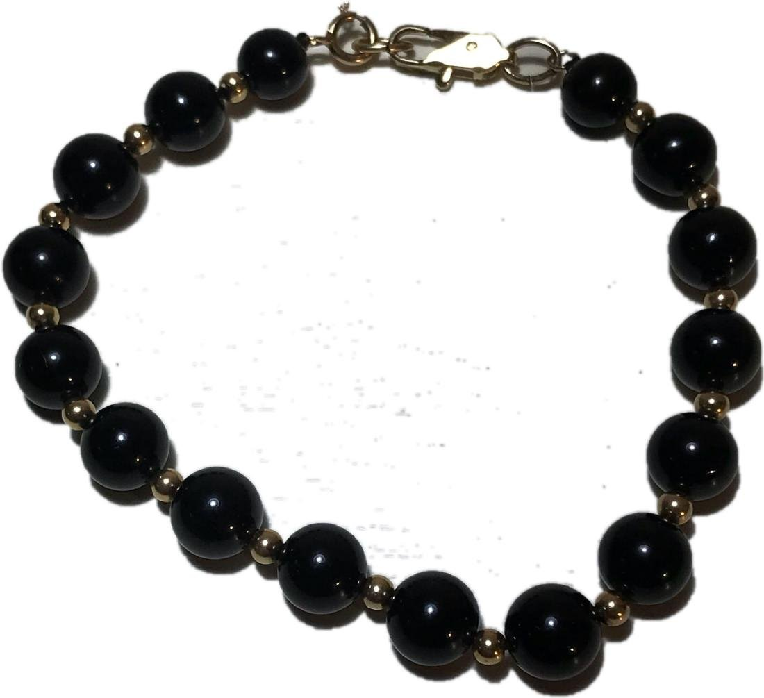 Black Pearl and Gold Bead Estate Jewelry Bracelet