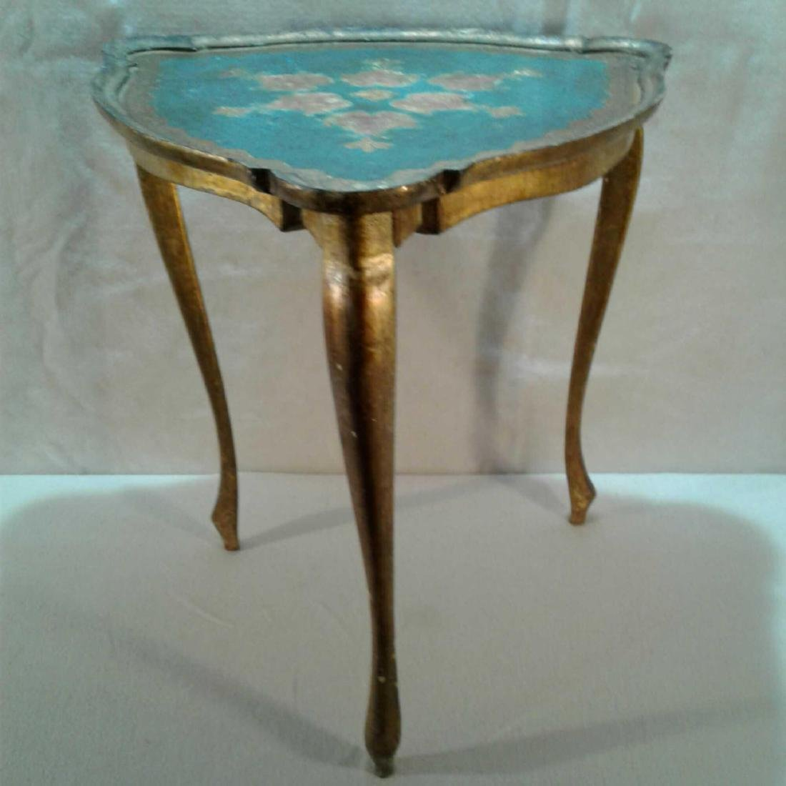 3 Legged End Table (Gold, Blue, with Flowers)