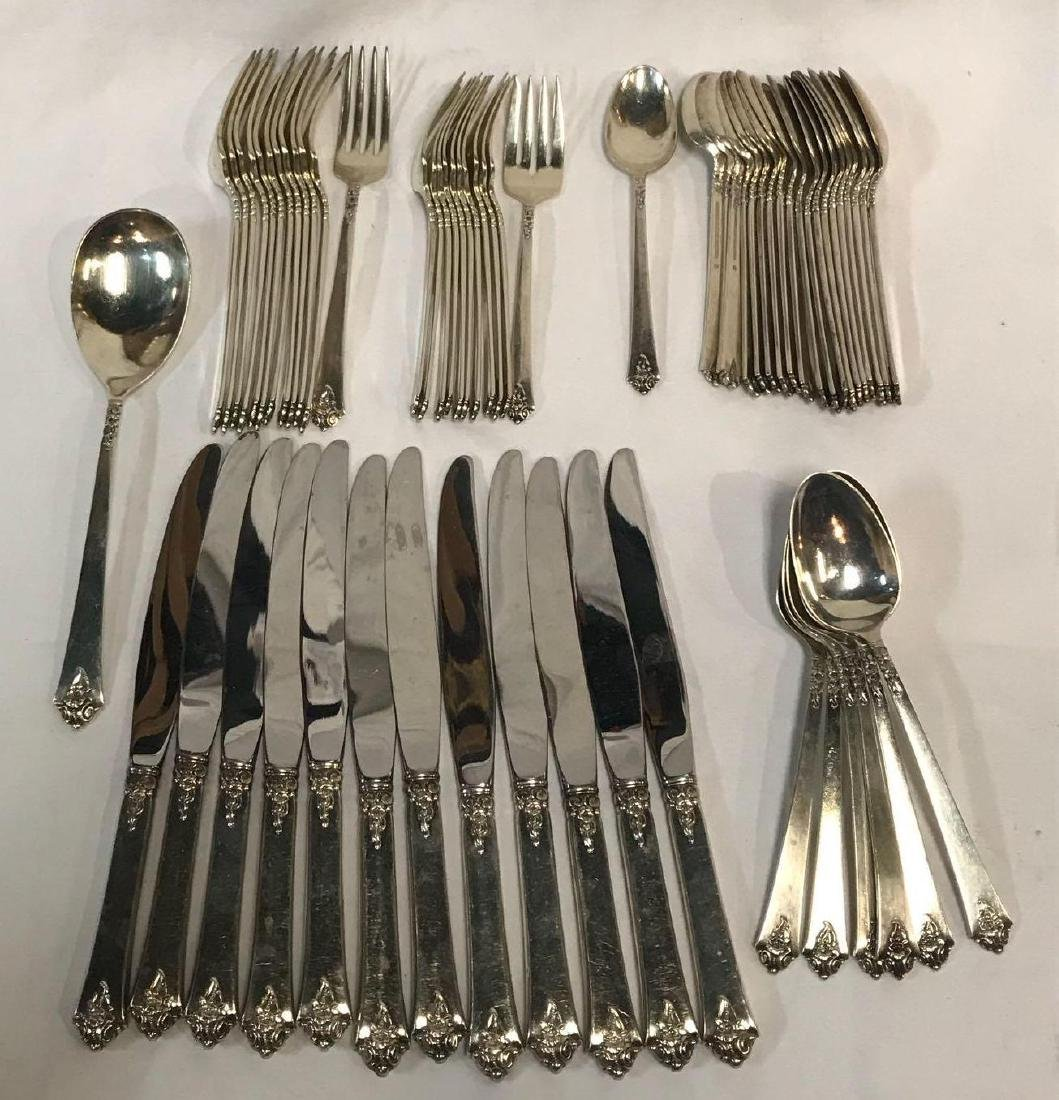 62 Pieces Sterling Silver Royal Crest Flatware