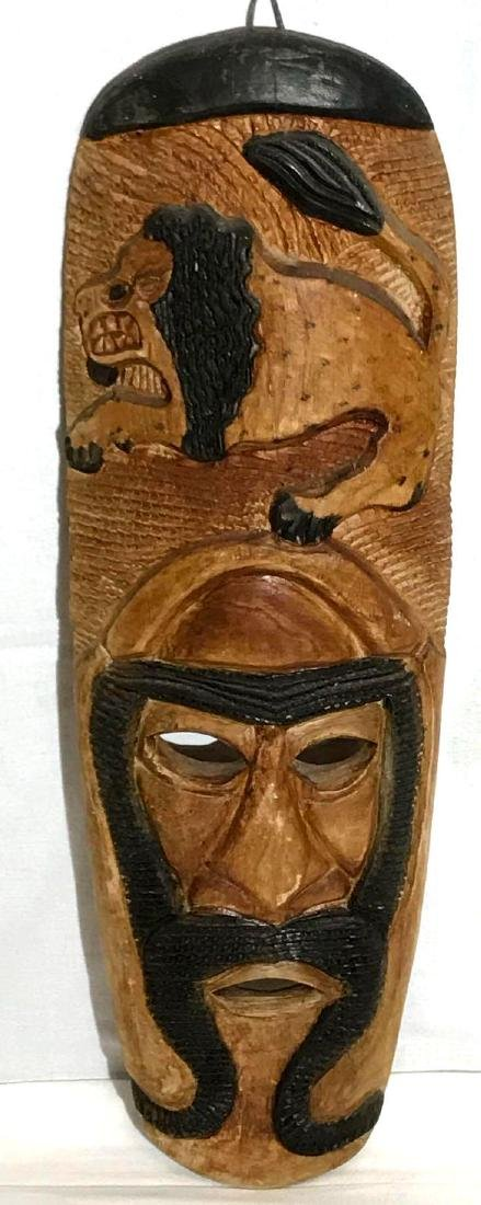 Tribal Mask Lion Wood Carving