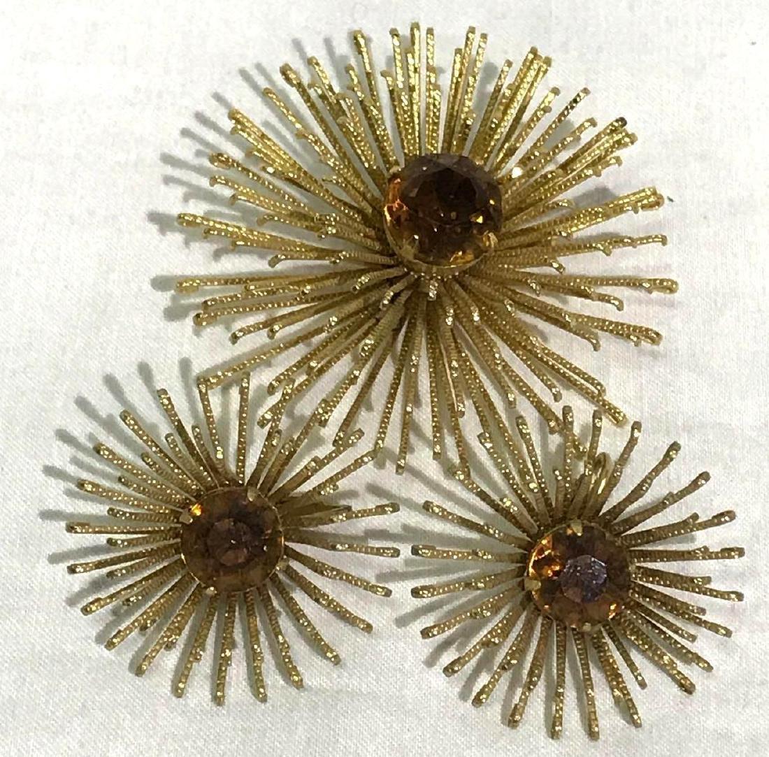 Mid-Century Modern Atomic Earring & Pendant Set, Jewelr
