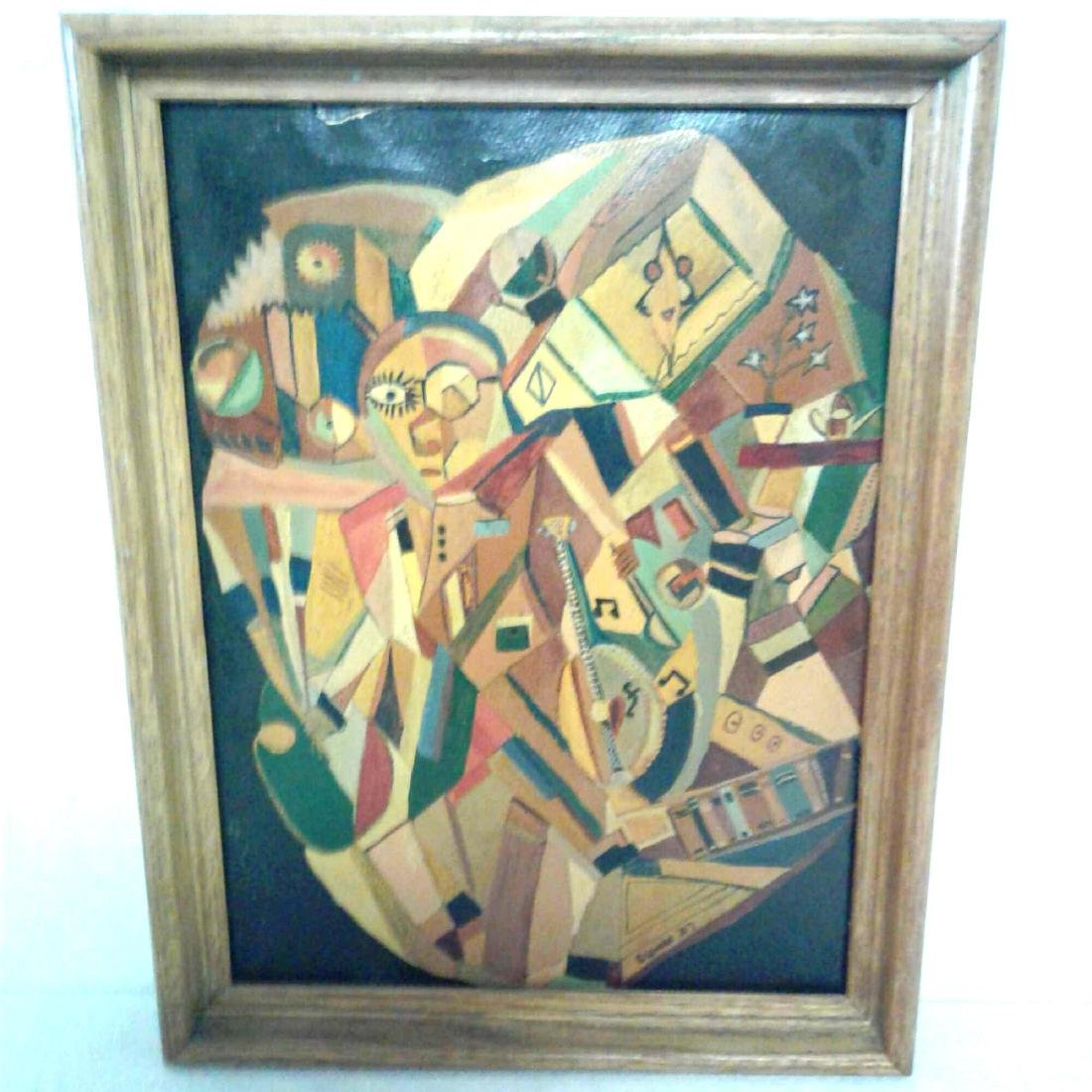 Framed Original Painting Signed by Eisman, 1947