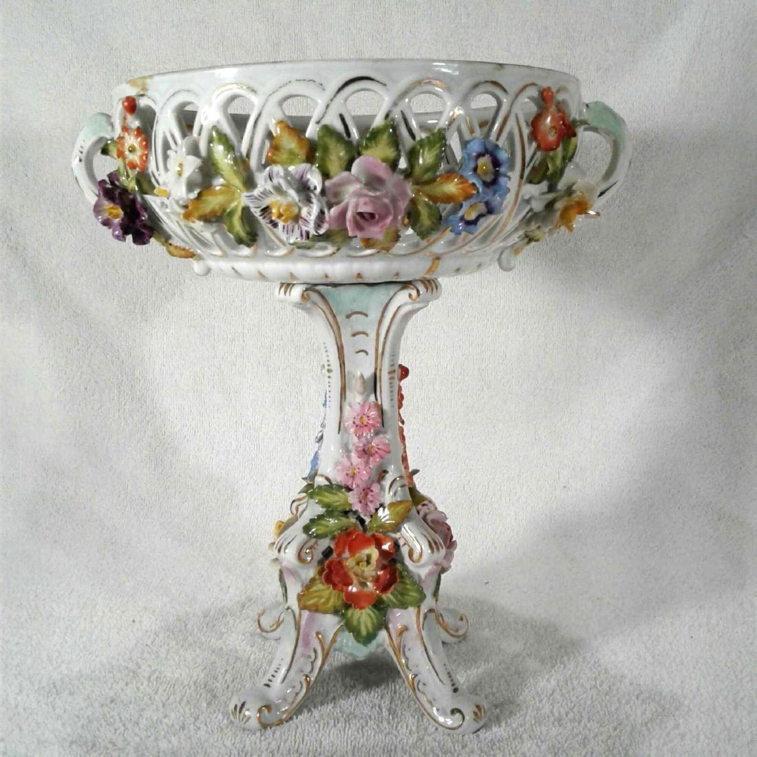 Antique Rococo Pedestal Dresden Candy Dish