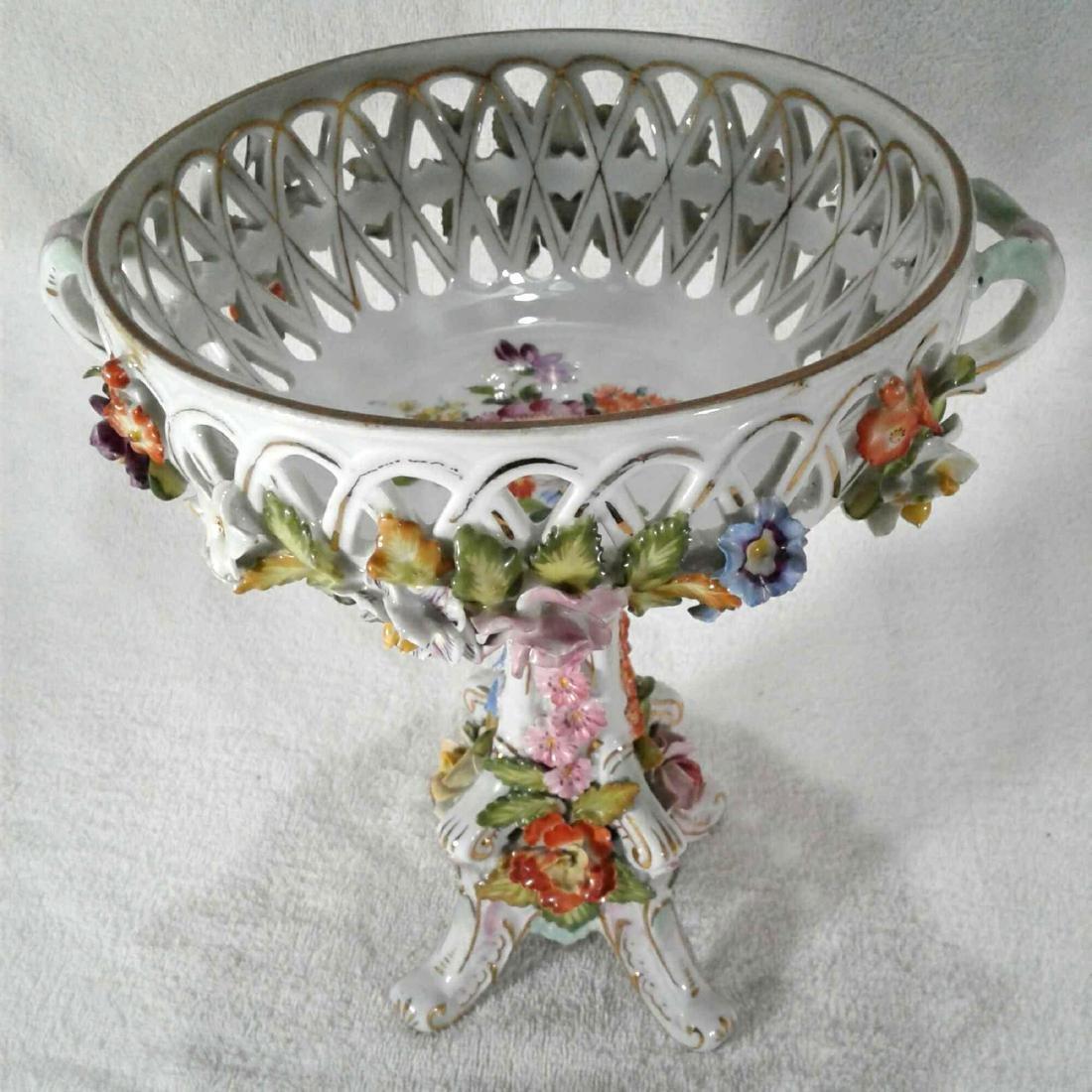Antique Rococo Pedestal Dresden Candy Dish - 2