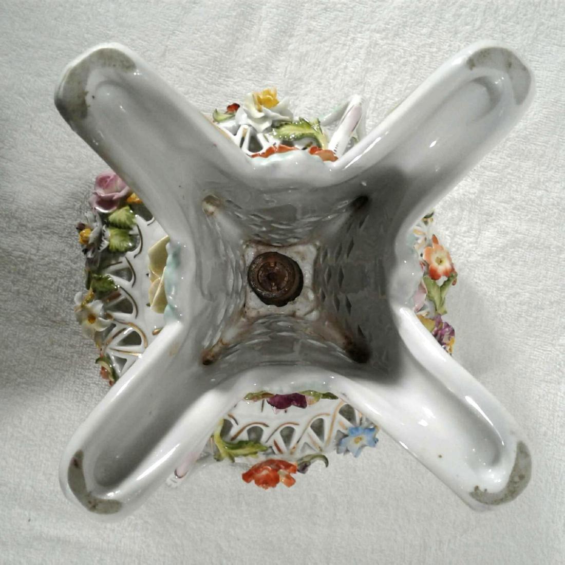Antique Rococo Pedestal Dresden Candy Dish - 9