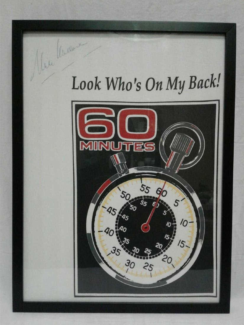 Framed 60 Minutes Tee Shirt Signed Mike Wallace