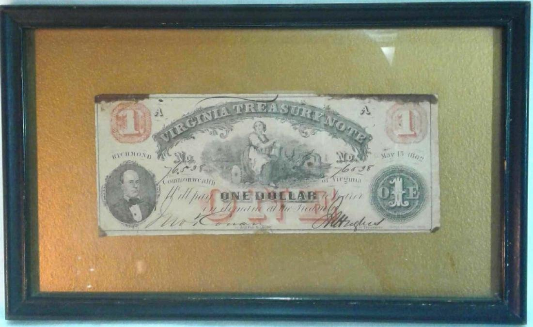 Framed Virginia Treasury Note, One Dollar, 1862