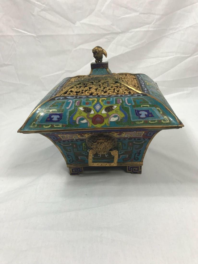 Antique Chinese Cloisonne Incense Burner - 10