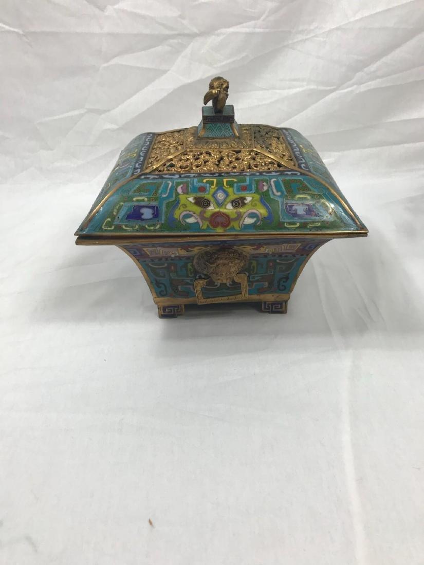 Antique Chinese Cloisonne Incense Burner - 4