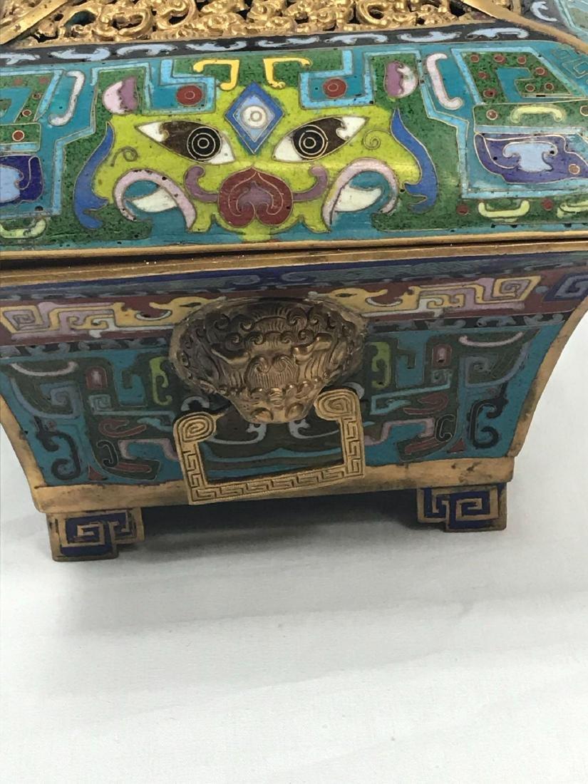 Antique Chinese Cloisonne Incense Burner - 5