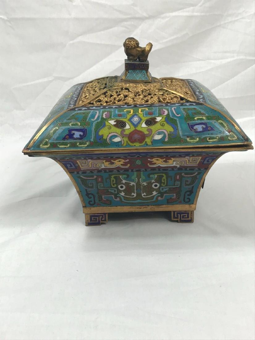Antique Chinese Cloisonne Incense Burner - 6
