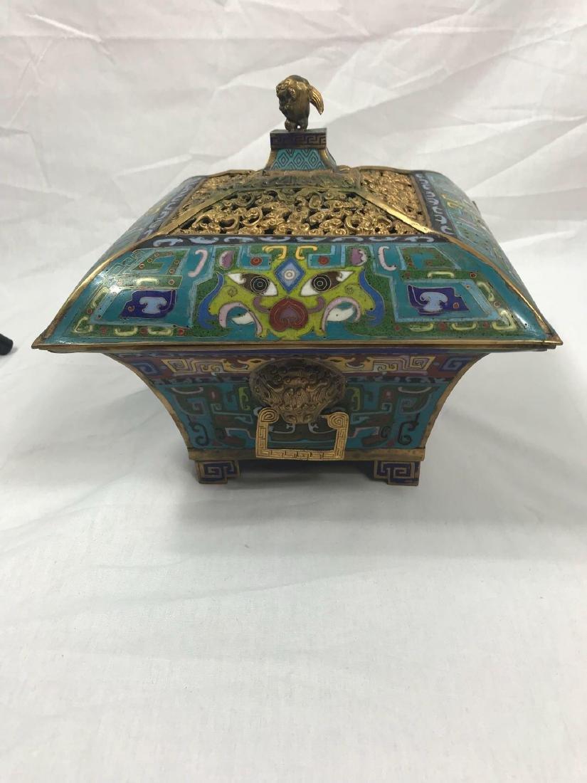 Antique Chinese Cloisonne Incense Burner - 9
