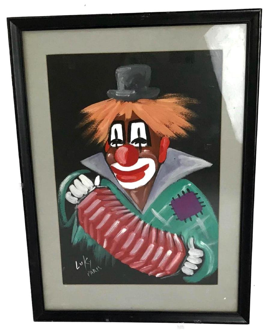 Luky Paris Clown with Accordion Framed Art