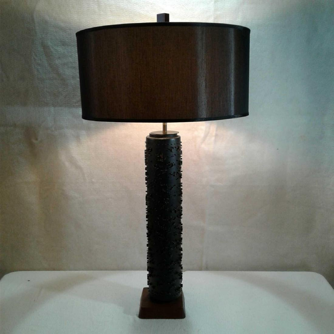 Mid-Century Modern Wall Paper Roll Table Lamp