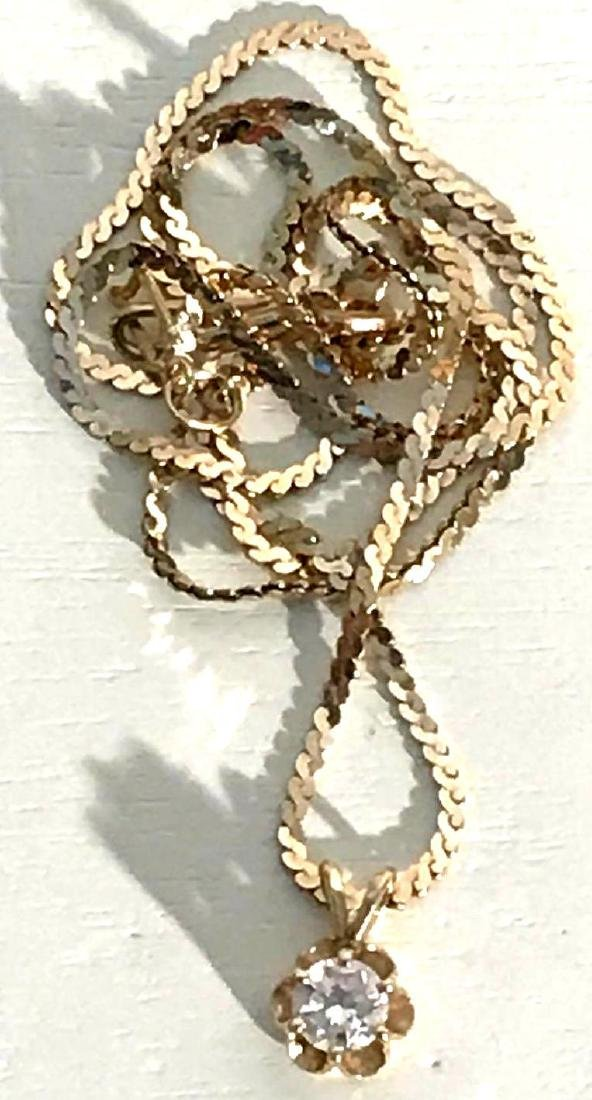 14K Gold Necklace with Diamond Pendant - 2