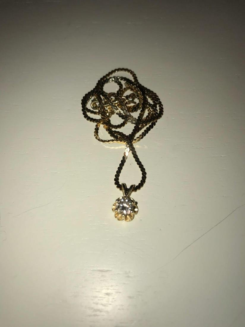 14K Gold Necklace with Diamond Pendant - 3