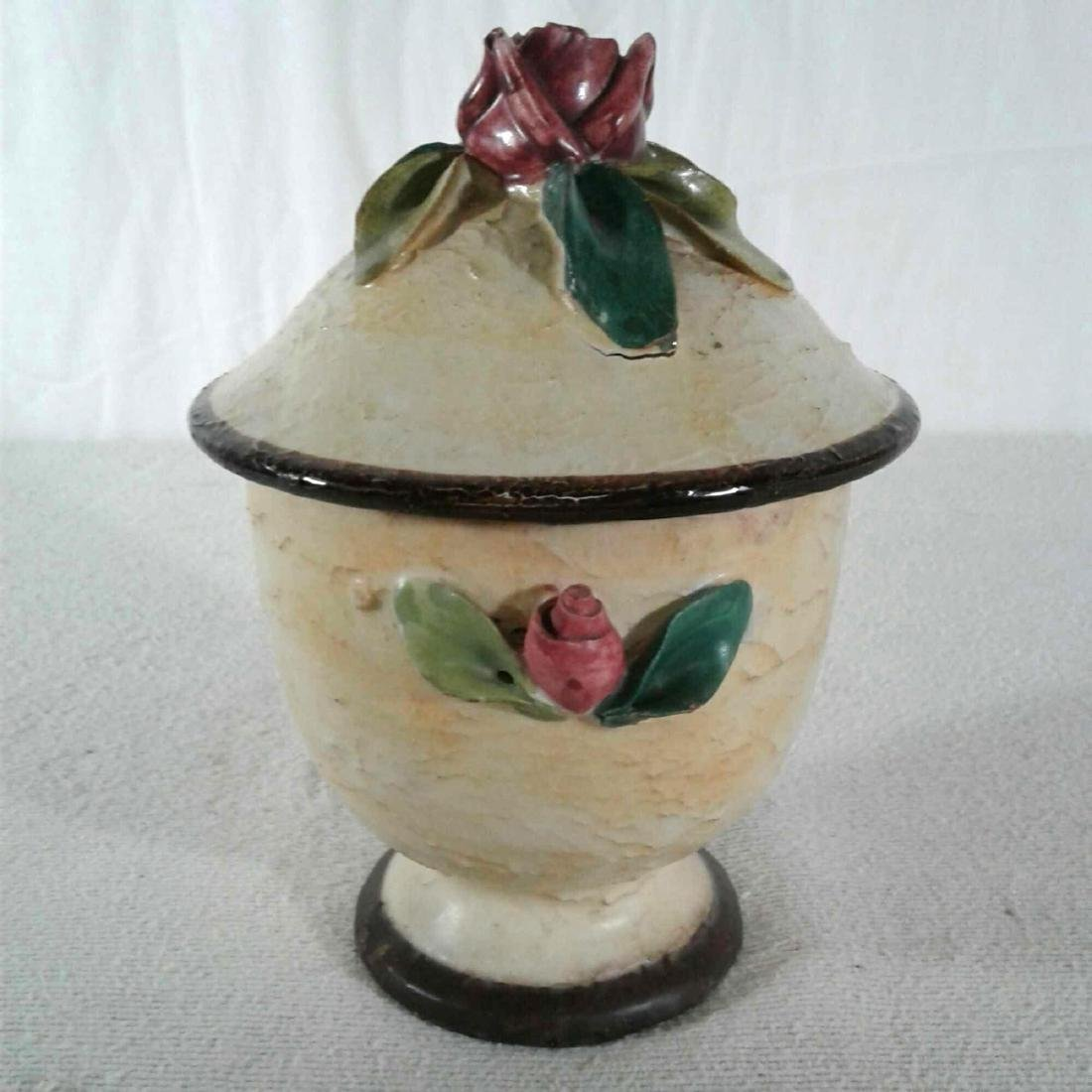 Ceramic Candy Dish with Rose Lid