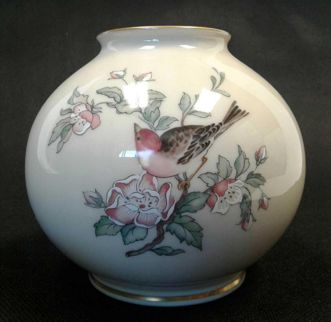 "Lenox ""Serenade"" Globe Vase with Flowers and Bird"