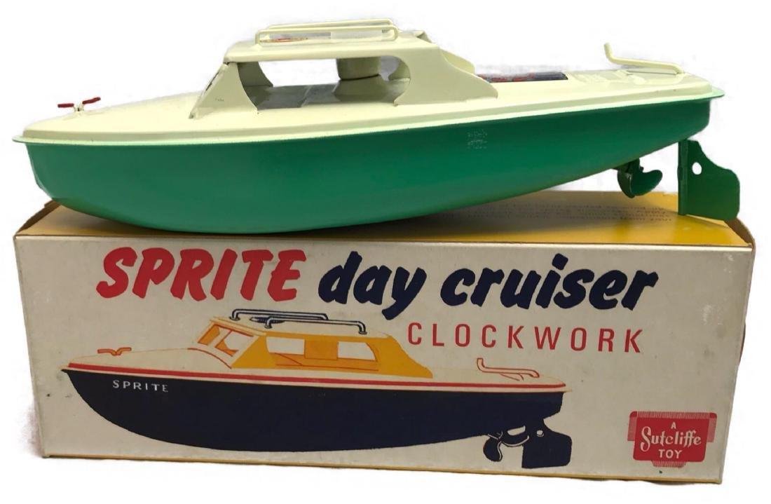 """Sutcliffe Cruiser Clockwork Tin Toy Boat """"Sprite"""""""
