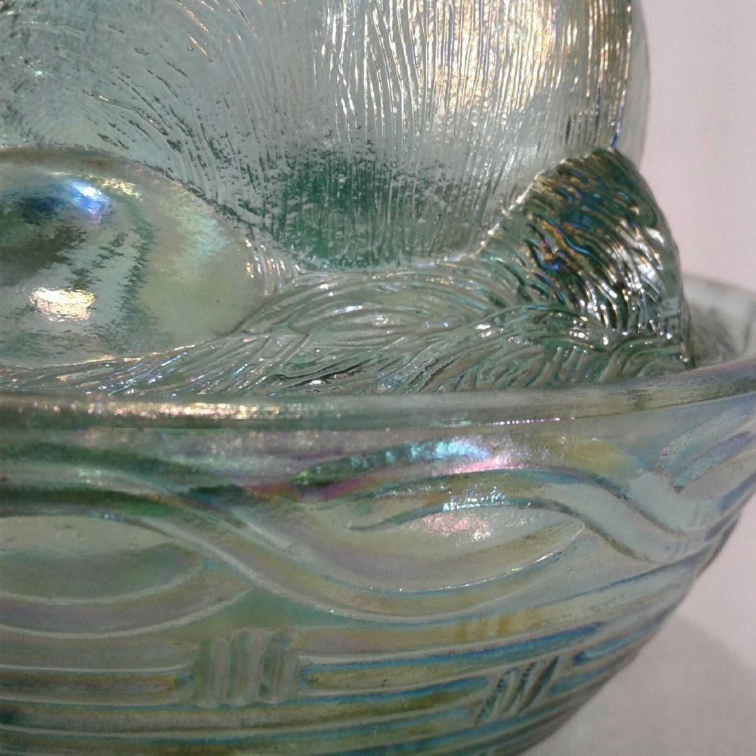 Green Carnival Glass Bunny Rabbit Dish Libbey - 10