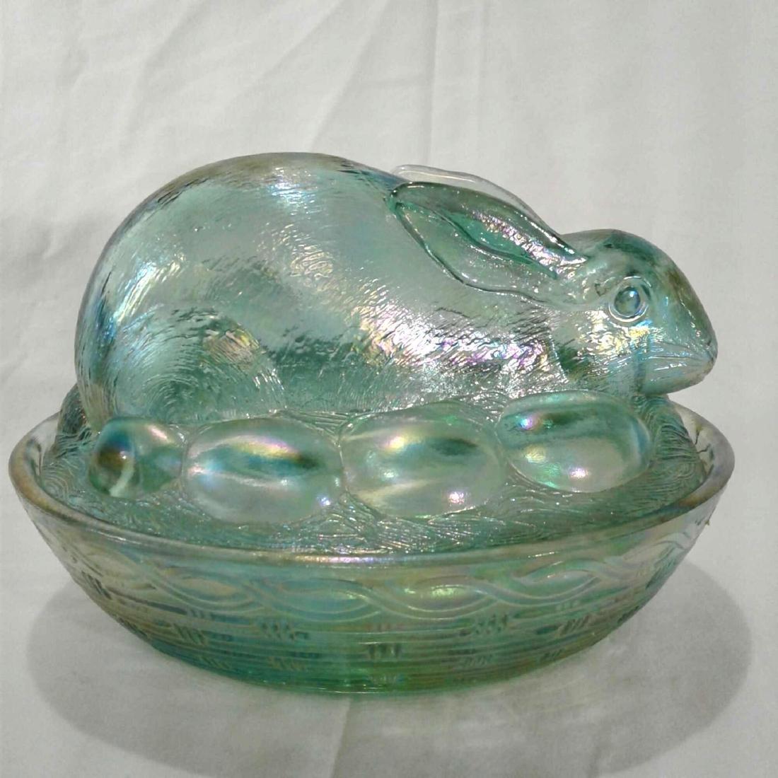 Green Carnival Glass Bunny Rabbit Dish Libbey