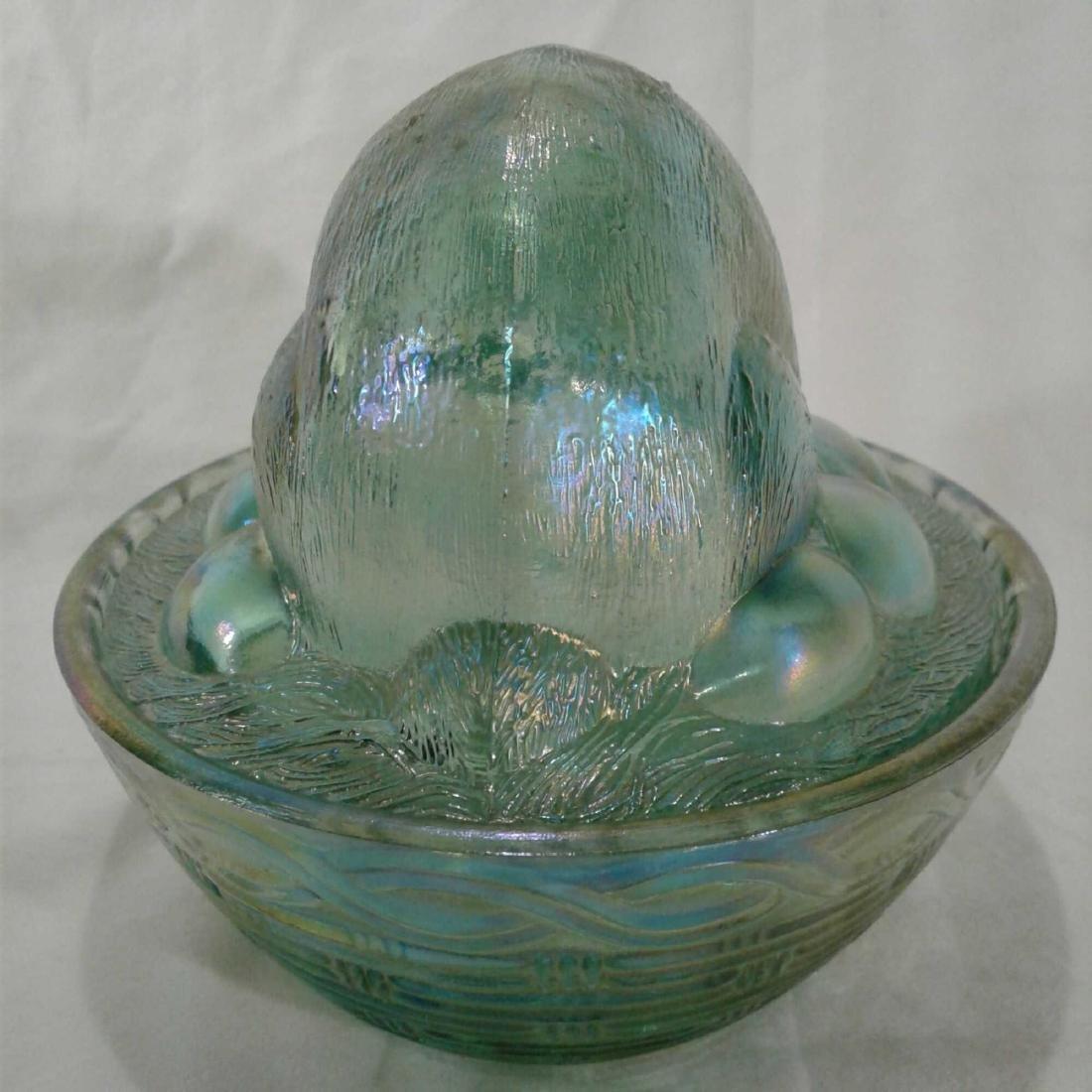 Green Carnival Glass Bunny Rabbit Dish Libbey - 4