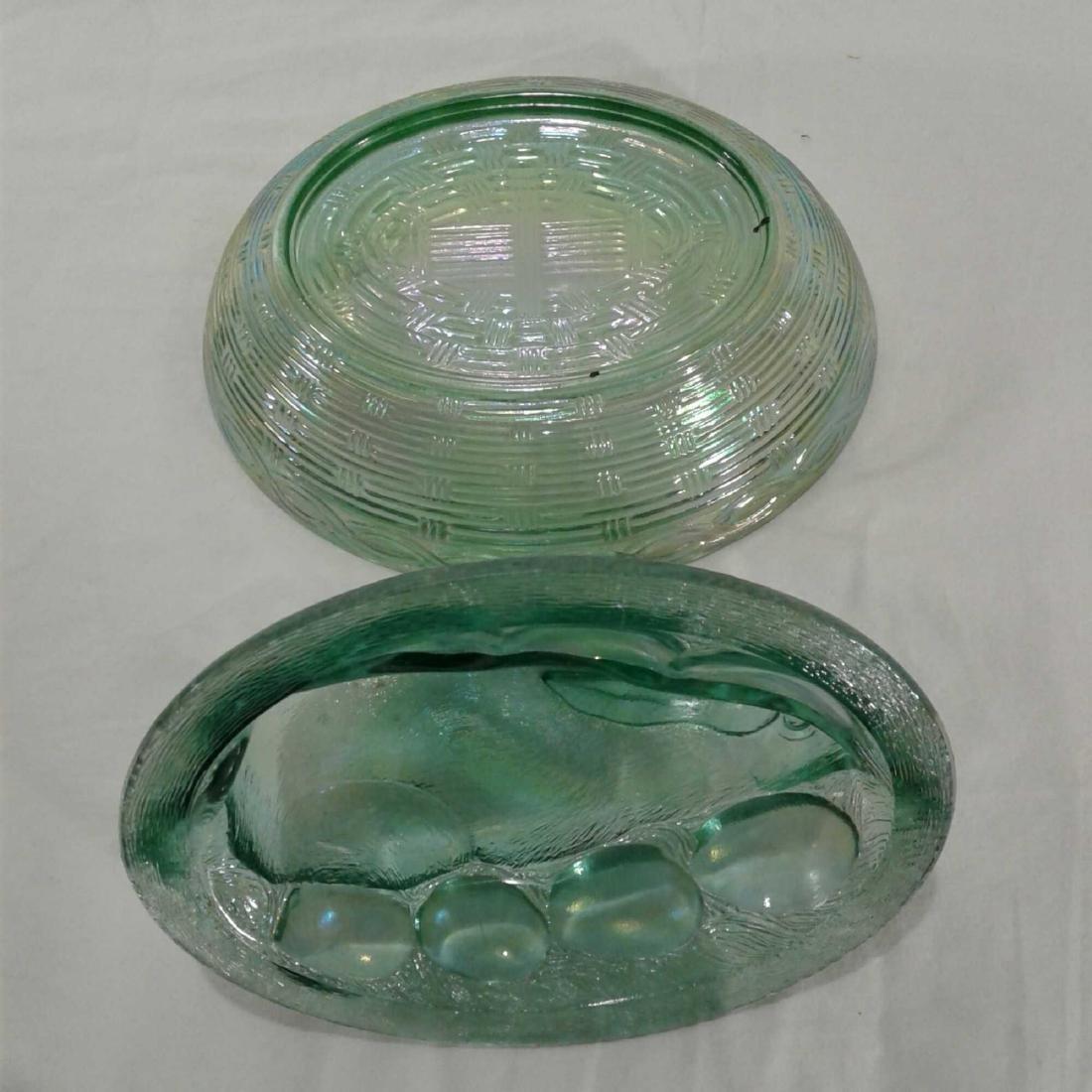 Green Carnival Glass Bunny Rabbit Dish Libbey - 6