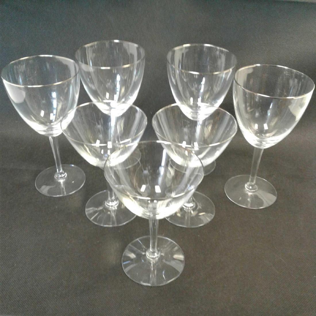 7 Fluted Wine Glasses, Platinum Rimmed