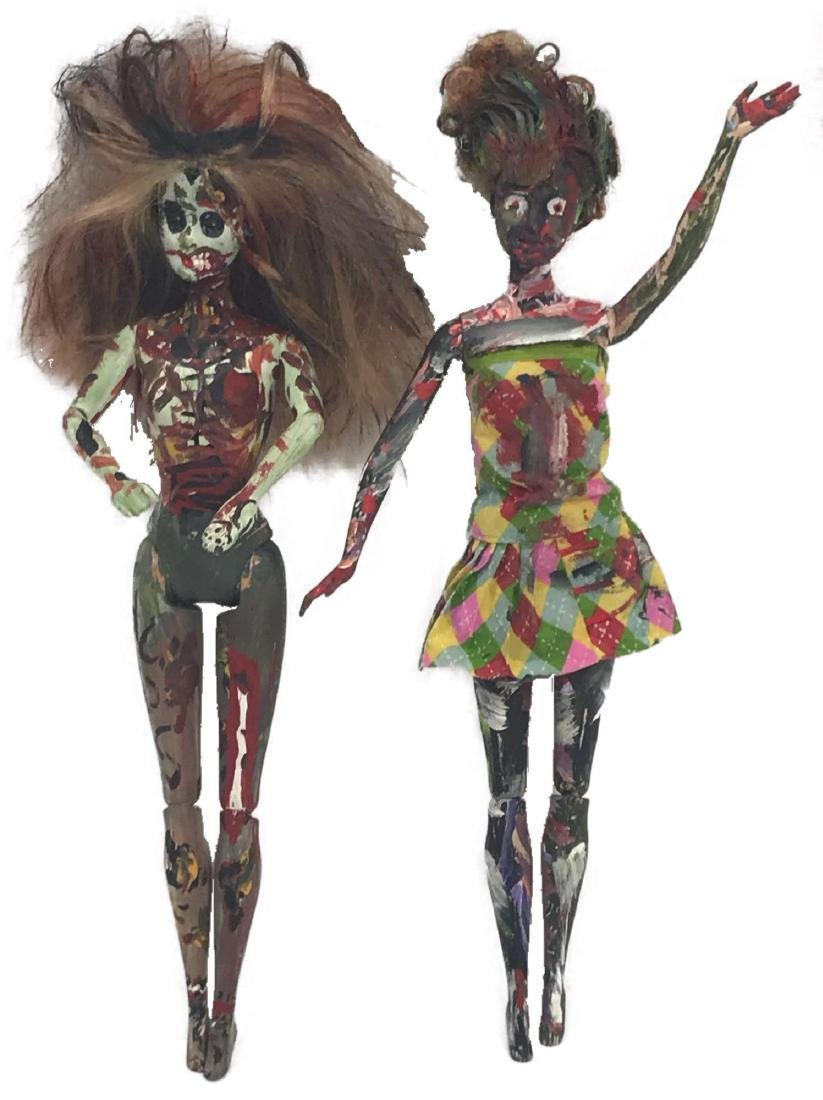 Two Halloween/Day of the Dead Hand-painted Barbie Dolls