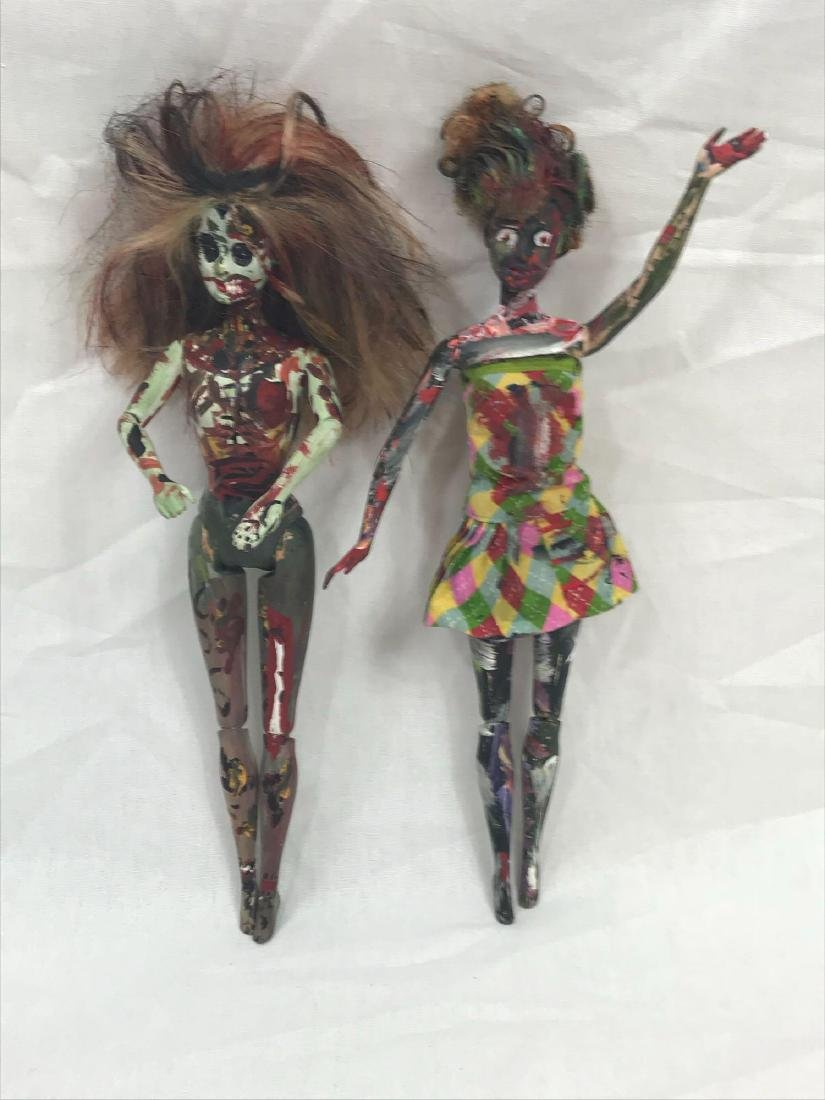 Two Halloween/Day of the Dead Hand-painted Barbie Dolls - 4