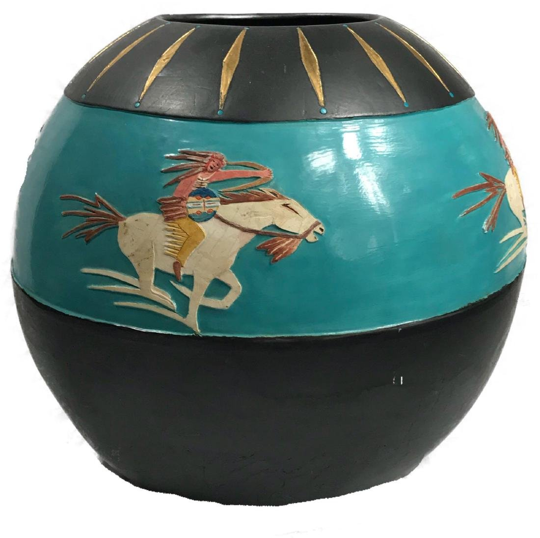 Buffalo Hunt Vase by Randal Blaze