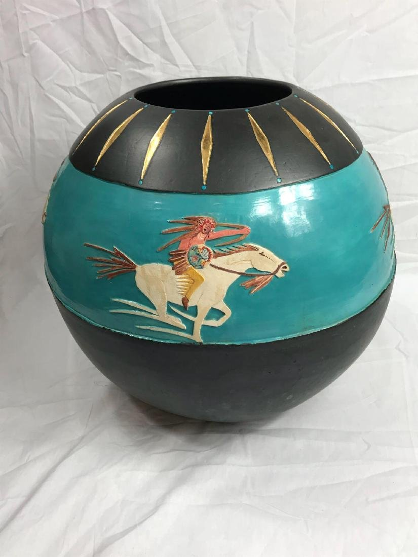 Buffalo Hunt Vase by Randal Blaze - 7