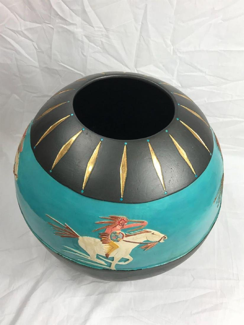 Buffalo Hunt Vase by Randal Blaze - 8