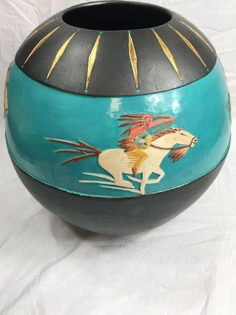 Buffalo Hunt Vase by Randal Blaze - 9