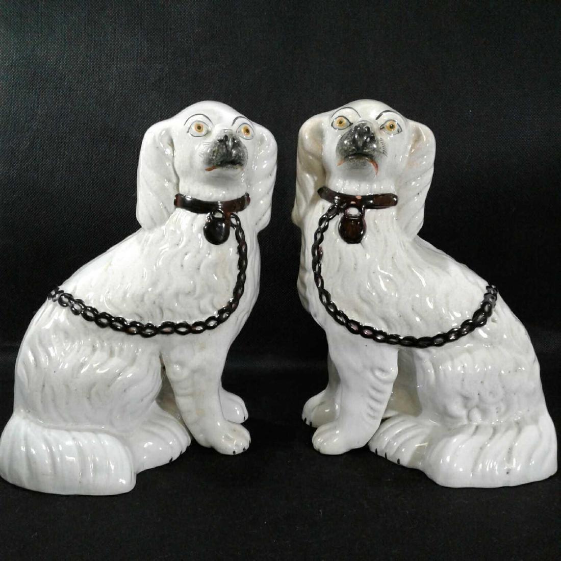 2 Staffordshire Porcelain White Spaniel Dogs Figurines