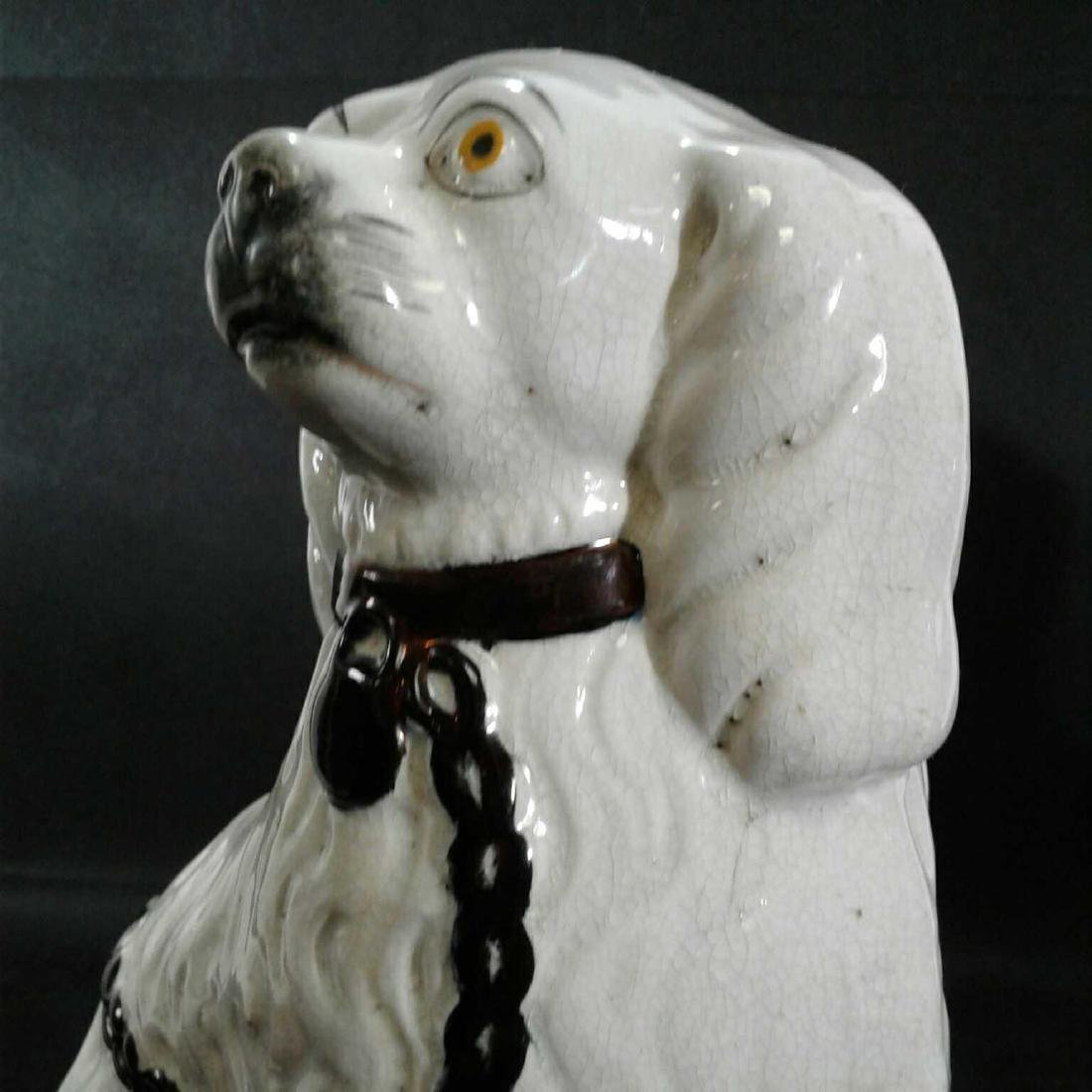 2 Staffordshire Porcelain White Spaniel Dogs Figurines - 4