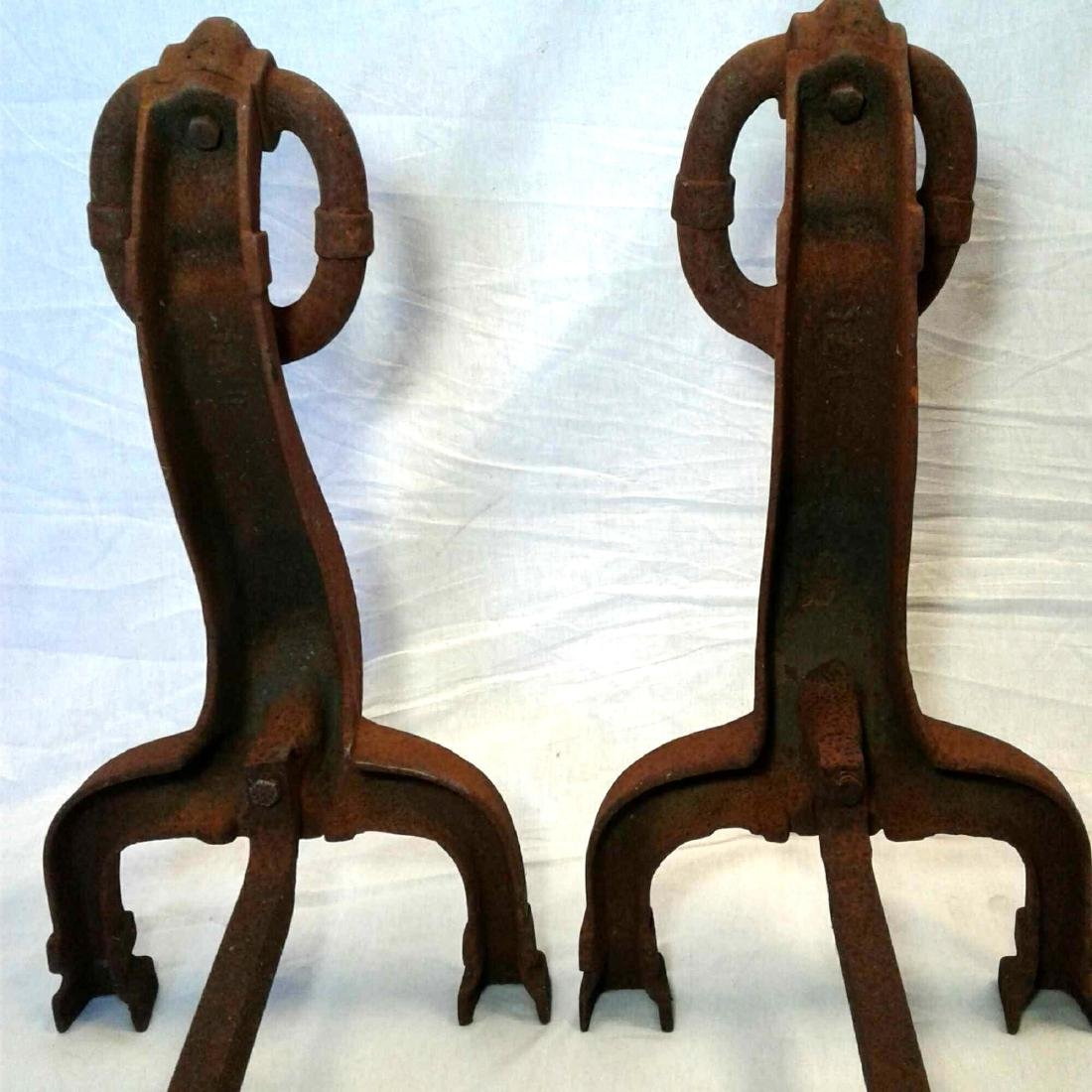 Antique Fireplace Andirons - 15