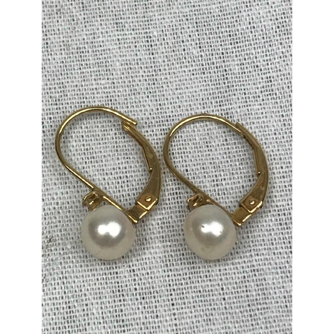 14K Gold and Pearl Earrings - 2